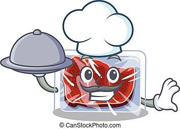 alimento, caricatura, bandeja, carne, personagem, cozinheiro, servindo, congelado