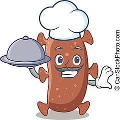 alimento, caricatura, bandeja, personagem, actinomyces, israelii, servindo, cozinheiro