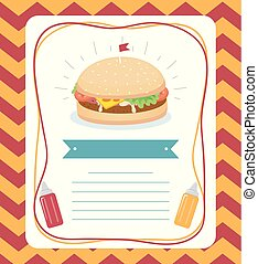 alimento, cartaz, ilustração, hambúrguer