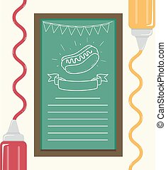 alimento, cartaz, ilustração, hotdog
