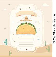 alimento, cartaz, ilustração, taco