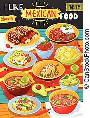 alimento, cartaz, mexicano, anúncio