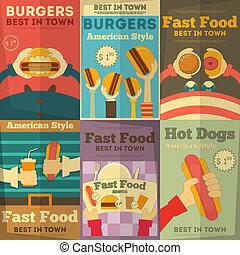 alimento, cartazes, rapidamente, cobrança