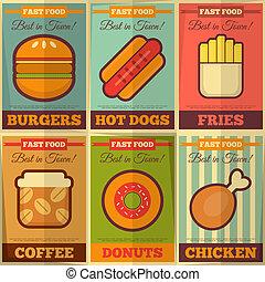 alimento, cartazes, retro, rapidamente, cobrança