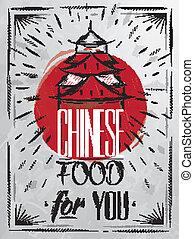 alimento, cartel, casa, chino, carbón