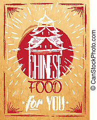 alimento, cartel, kraft, chino, casa