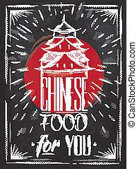 alimento, cartel, tiza, chino, casa