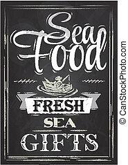 alimento, cartel, tiza, mar