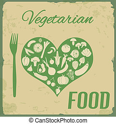 alimento, cartel, vegetariano, retro