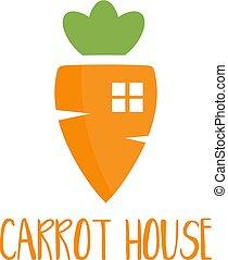 alimento, casa, cenoura, theme., ilustração, vetorial, desenho, modelo, logotipo
