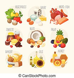 alimento, categories., orgânica
