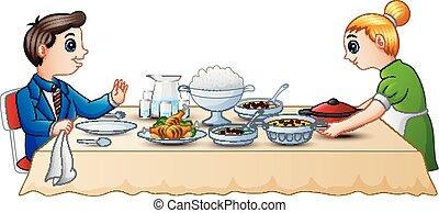 alimento, cenar mesa, preparando, madre