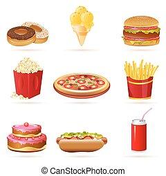 alimento, chatarra, iconos
