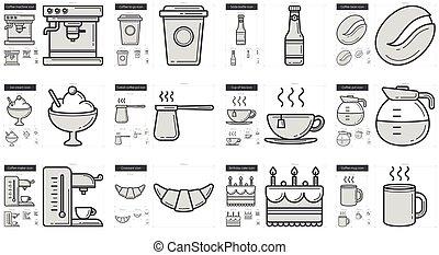 alimento, chatarra, línea, set., icono