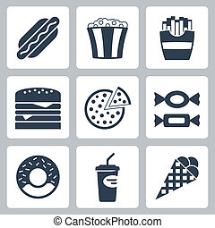 alimento, chatarra, vector, conjunto, iconos