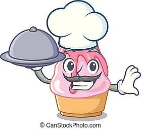 alimento, chef, forma, kakigori, caricatura