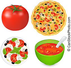 alimento, cobrança, pratos, tomates