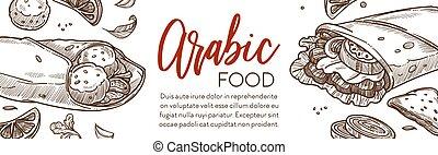 alimento, cocina, medio, restaurante, bandera, este, árabe, ...