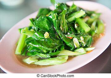 alimento, col rizada, frito, conmoción, tailandés
