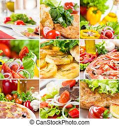 alimento, colagem, europeu