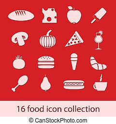 alimento, colección, iconos