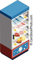 alimento, colección, isométrico