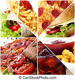 alimento, collage, rápido