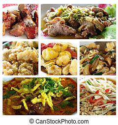 alimento, collage, tailandés