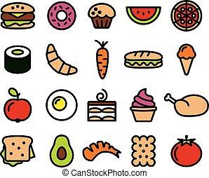 alimento, colorido, colección, iconos