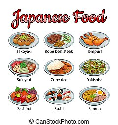 alimento, colorido, delicioso, gradiente, conjunto, icono, famoso, diseño, japonés