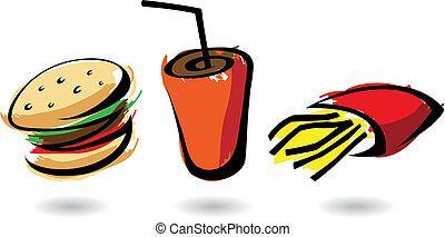 alimento, colorido, rápido, iconos