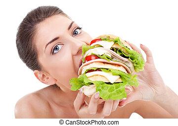alimento, comer mulher, jovem, rapidamente