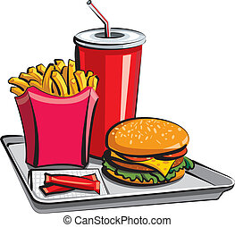 alimento, comida, rápido