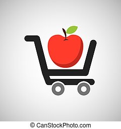 alimento, compra, carreta, gostosa, maçã