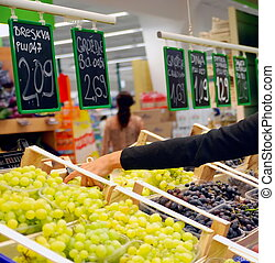 alimento, compra, supermercado