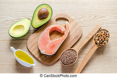 alimento, con, no saturado, grasas