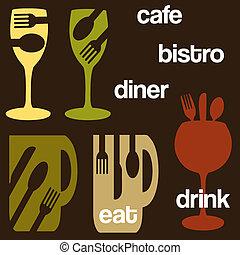 alimento, concepto, café, bebida, gráficos