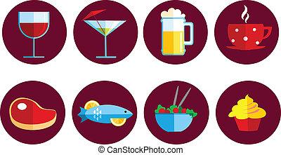 alimento, conjunto, bebida, iconos