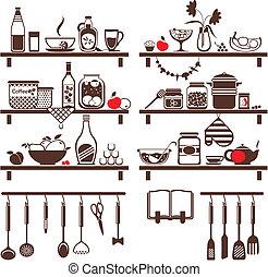 alimento, conjunto, bebidas, vector, iconos