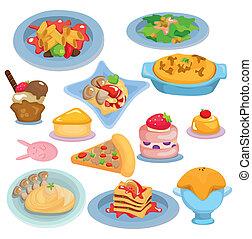 alimento, conjunto, caricatura, italiano