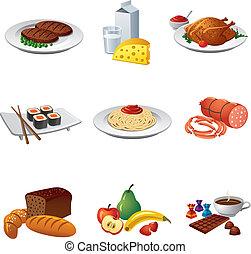 alimento, conjunto, comida, icono