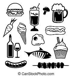 alimento, conjunto, iconos