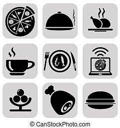 alimento, conjunto, negro, iconos