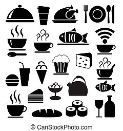 alimento, conjunto, negro, vector, iconos