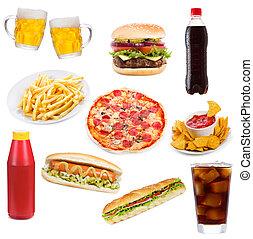 alimento, conjunto, productos, rápido
