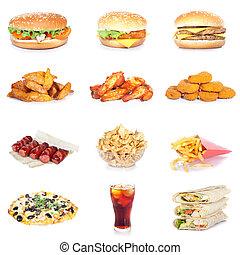alimento, conjunto, rápido