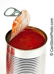 alimento conservado, aislado, crudo, blanco, tomates