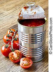 alimento, conservado, tomates, crudo