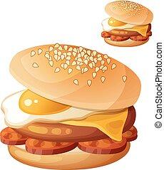 alimento, cooking., carne de vaca, chuleta, blanco, cheddar, frito, chorizo, detallado, icono, serie, vector, aislado, bebida, hamburguesa, huevo, fondo., slices., queso, ingredientes