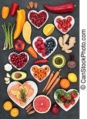alimento, coração, manter, saudável
